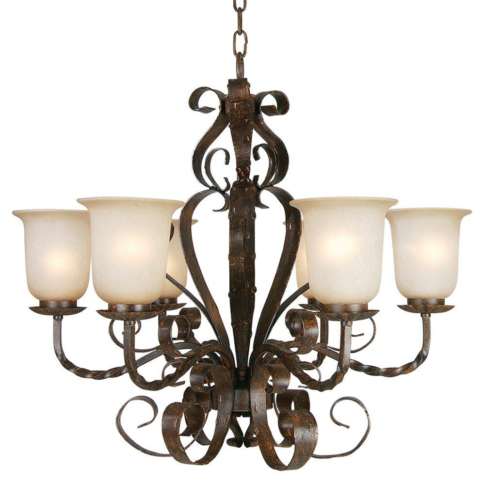 Yosemite Home Decor McKensi Collection 6-Light Bronze Patina Hanging Chandelier with Alabaster Glass Shade