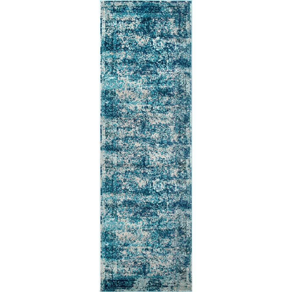 Vintage Shuler Ocean Blue 3 ft. x 8 ft. Runner Rug