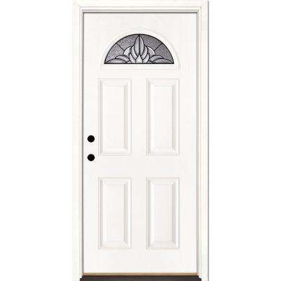33.5 in. x 81.625 in. Sapphire Patina Fan Lite Unfinished Smooth Right-Hand Inswing Fiberglass Prehung Front Door