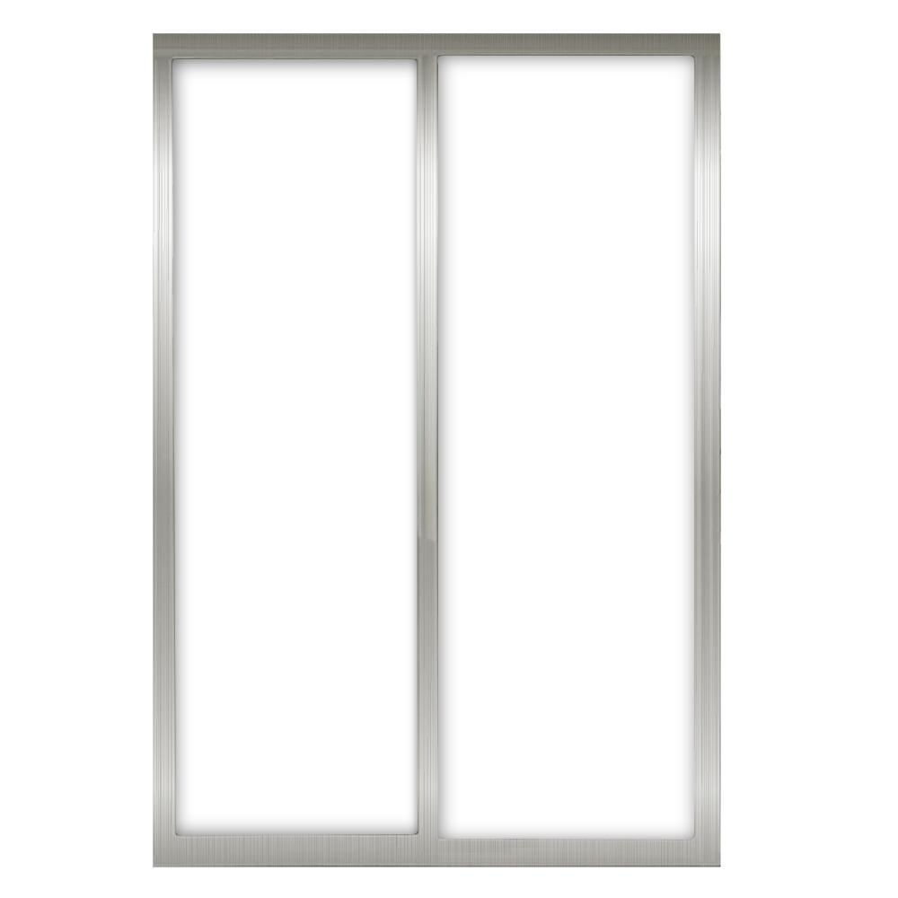 60 in. x 81 in. Silhouette 1-Lite Mystique Glass Brushed Nickel