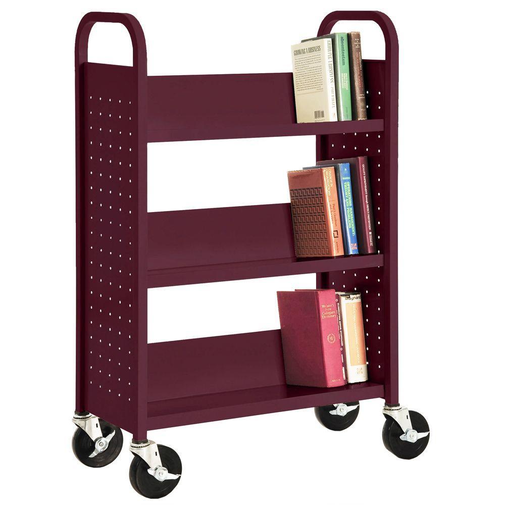 32 in. W x 14 in. D x 46 in. H Single Sided 3-Sloped Shelf Booktruck in Burgundy