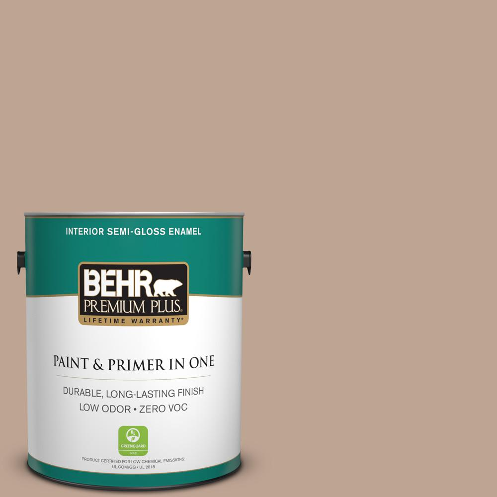 1-gal. #700D-4 Brown Teepee Zero VOC Semi-Gloss Enamel Interior Paint