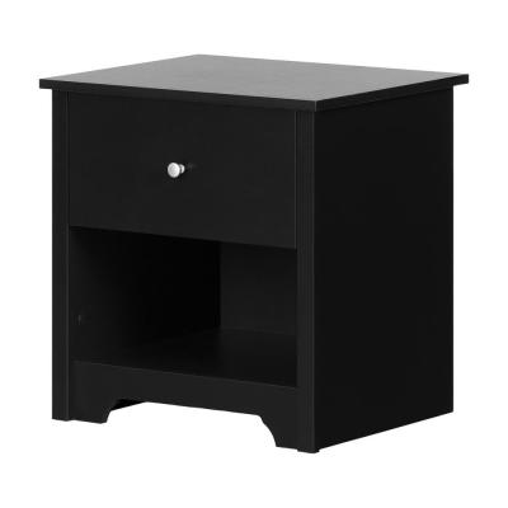 Vito 1-Drawer Nightstand in Pure Black
