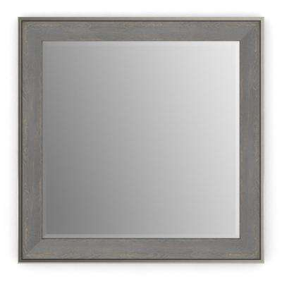 33 in. x 33 in. (L2) Square Framed Mirror with Deluxe Glass and Flush Mount Hardware in Weathered Wood