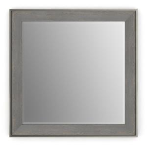 33 in. W x 33 in. H (L2) Framed Square Deluxe Glass Bathroom Vanity Mirror in Weathered Wood