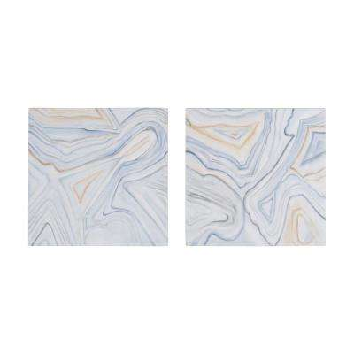 "24 in. x 24 in. ""Pastels Agate"" Hand Painted Stretched Canvas Wall Art (Set of 2)"