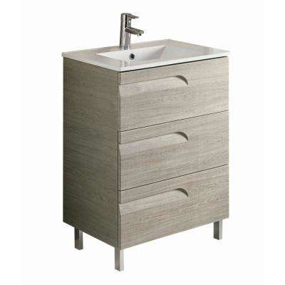 Vitta 24 in. W x 18 in. D x 34 in. H Vanity in Maple with Porcelain Top in White with White Basin