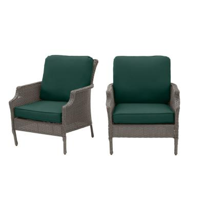 Grayson Ash Gray Wicker Outdoor Patio Lounge with CushionGuard Charleston Blue-Green Cushions (2-Pack)