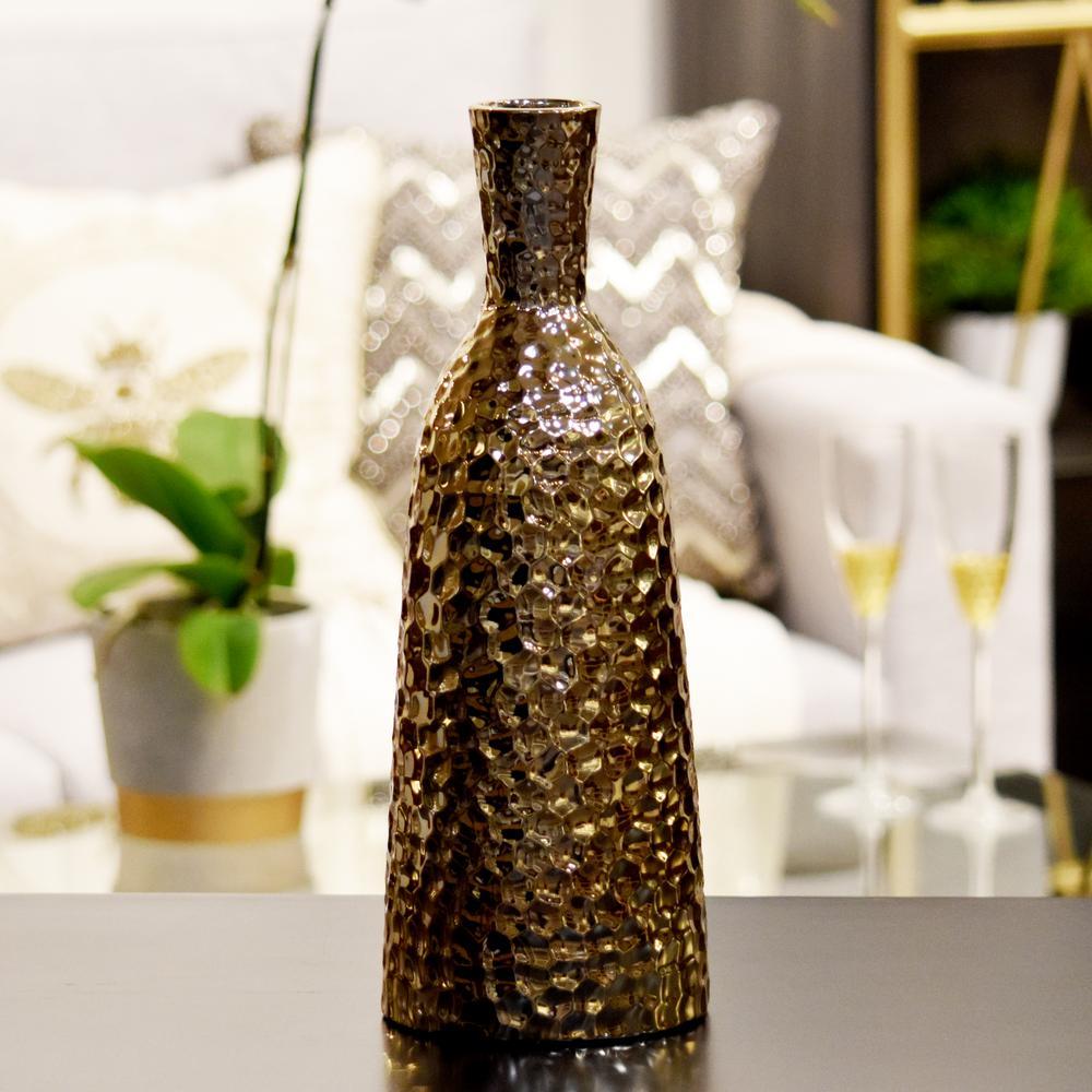 Gold Polished Chrome Ceramic Decorative Vase