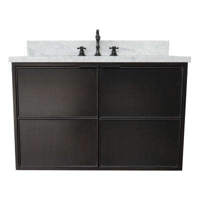 Scandi IV 37 in. W x 22 in. D Wall Mount Bath Vanity in Cappuccino with Marble Vanity Top in White with White Oval Basin