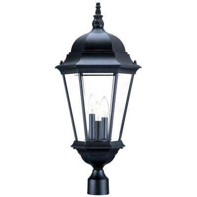 Richmond 3-Light Matte Black Outdoor Post-Mount Light Fixture
