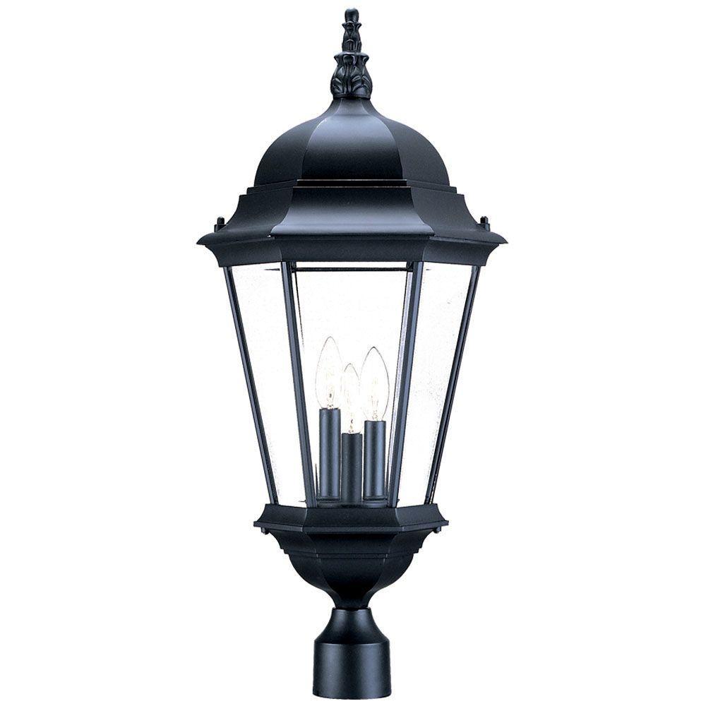 Richmond 3-Light Matte Black Outdoor Post-Mount Light Fixture