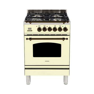 24 in. 2.4 cu. ft. Single Oven Italian Gas Range with True Convection, 4 Burners, LP Gas, Bronze Trim in Antique White