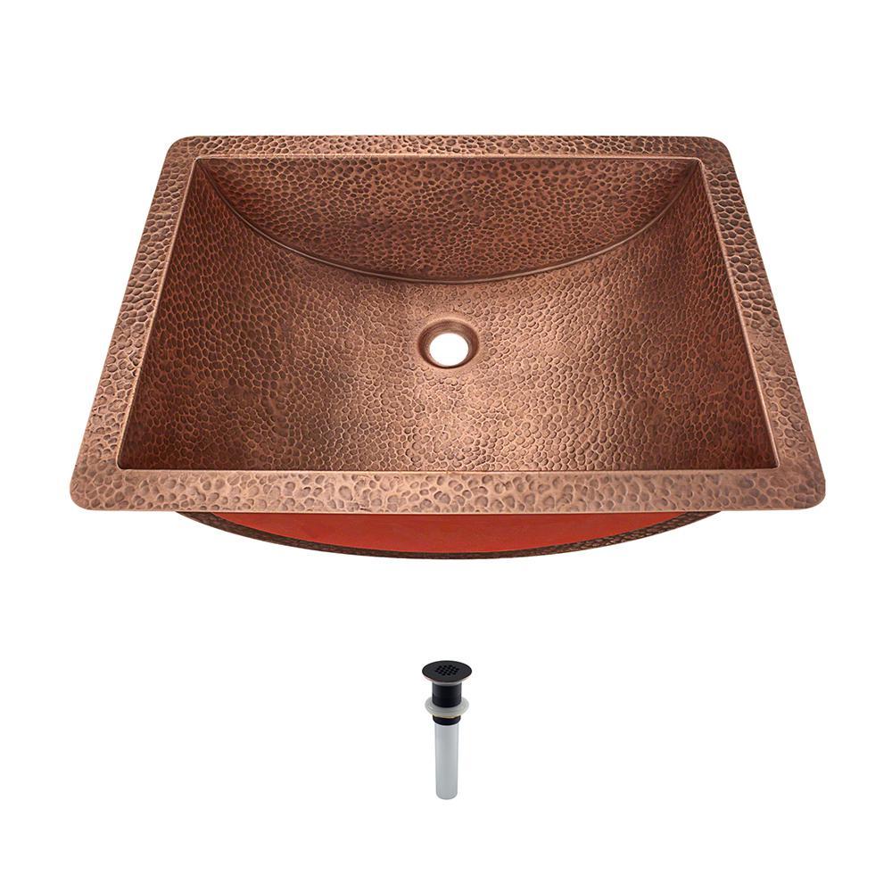 Undermount Bathroom Sink in Copper with Grid Drain in Antique Bronze