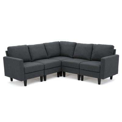 5-Piece Dark Gray Fabric Sectional