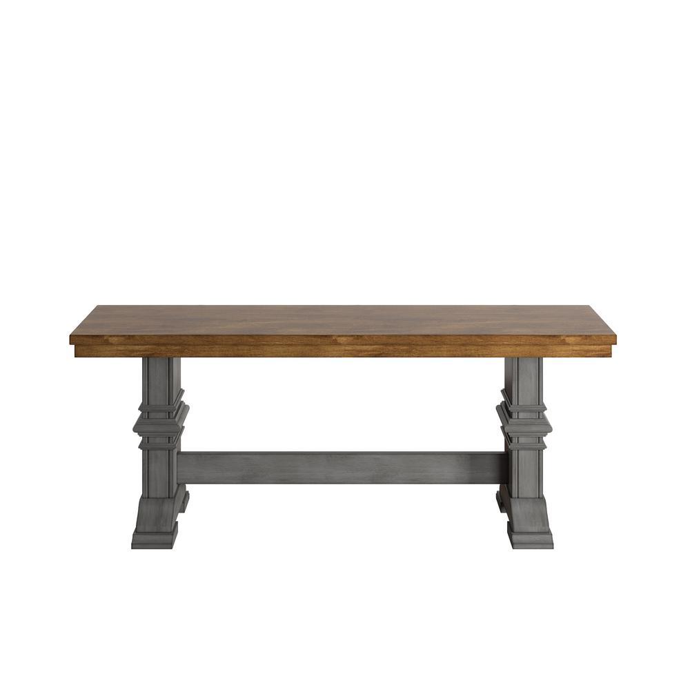 Outstanding Homesullivan Antique Grey Dining Bench With Trestle Leg Inzonedesignstudio Interior Chair Design Inzonedesignstudiocom