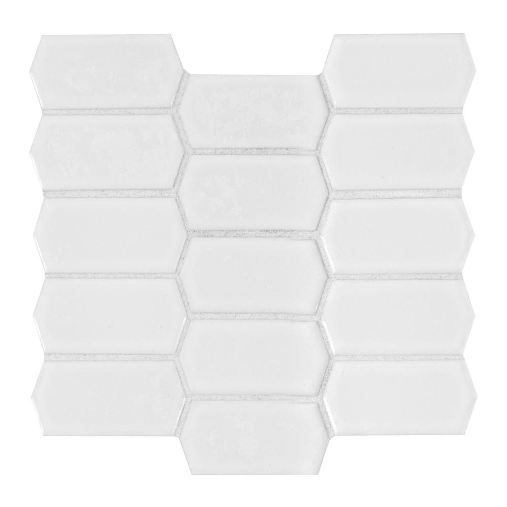 MSI Retro Picket Bianco 13.99 in. x 10.76 in. x 8mm Porcelain Mesh-Mounted Mosaic Tile (10.5 sq. ft. / case)