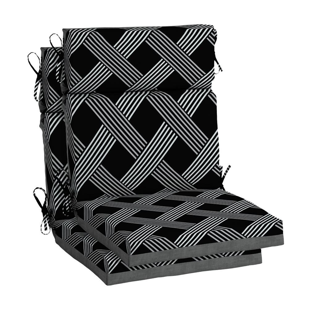 Hampton Bay Black Lattice Outdoor High Back Dining Chair ...