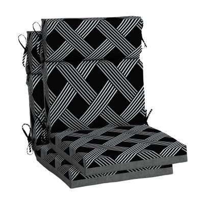 Black Lattice Outdoor High Back Dining Chair Cushion (2-Pack)