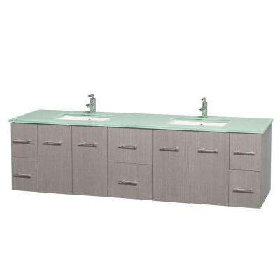 Centra 80 in. Double Vanity in Gray Oak with Glass Vanity Top in Green and Undermount Sinks