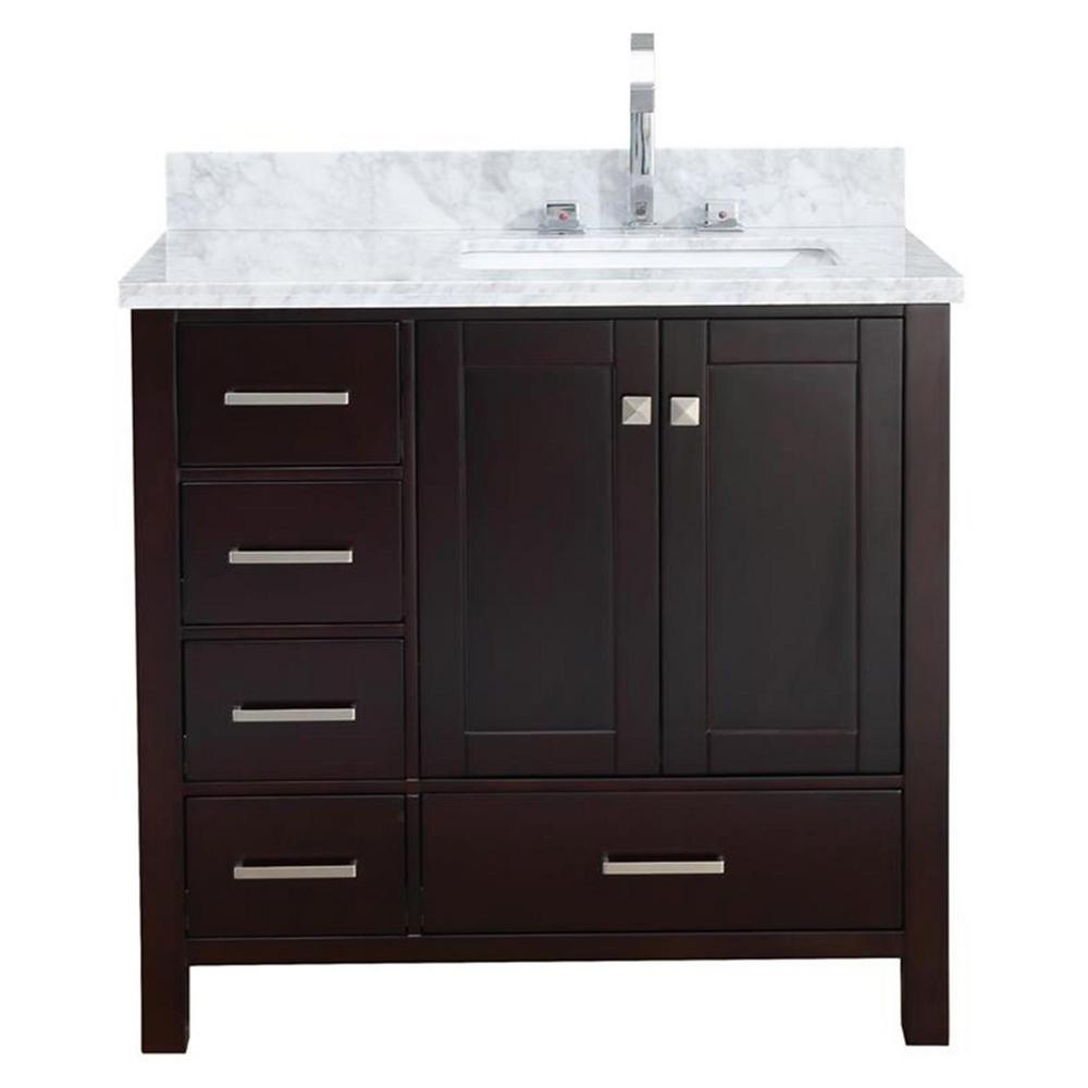 Cambridge 37 in. Bath Vanity in Espresso with Marble Vanity Top