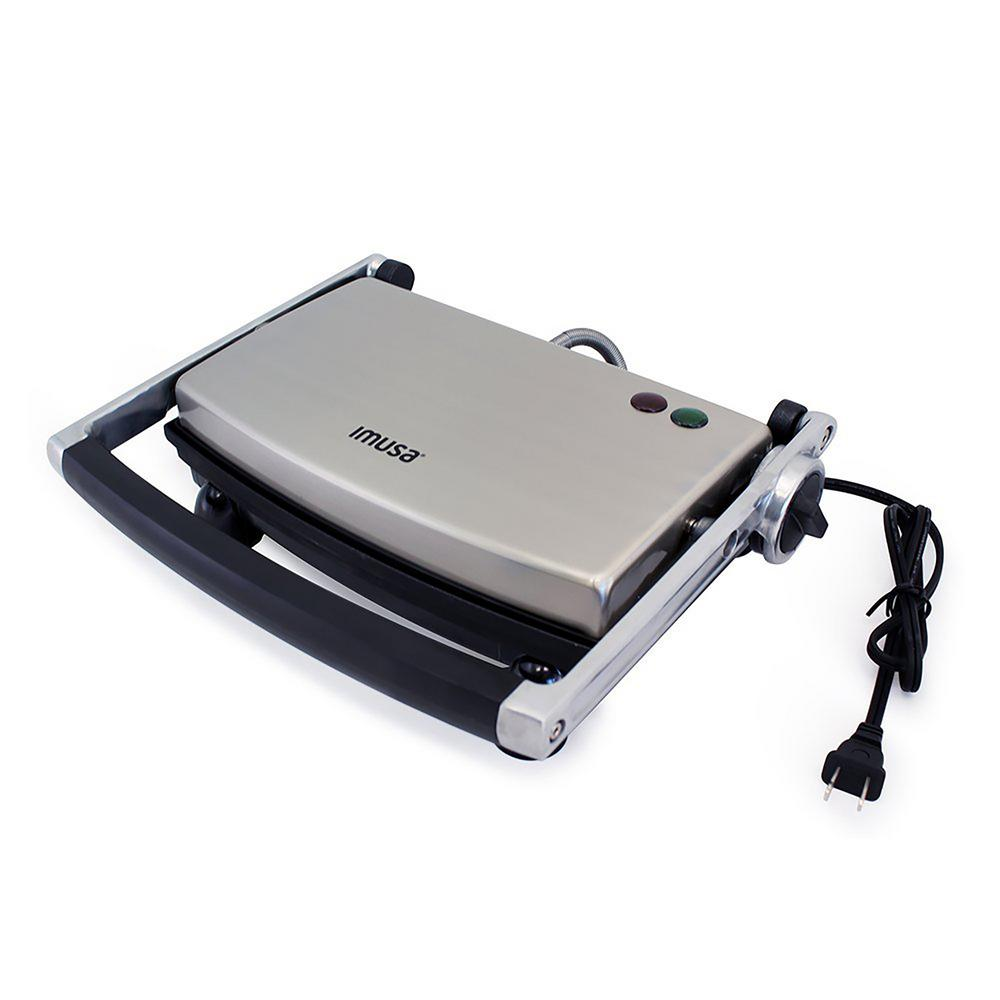 IMUSA 1000-Watt Non-stick Panini Press, Silver The IMUSA Panini Press will make evenly pressed delicious sandwiches with every use in only minutes. It is truly multifunctional and can handle anything from pancakes, grilled cheese, arepas to cooking pizza dough, bacon and eggs. The large nonstick cooking plates are easy to clean and will allow you to consistently press multiple sandwiches to perfection at any given time. Use the adjustable knob to set your Panini Press to 4 different heights, allowing you to customize and stack your panini to perfection. Color: Silver.