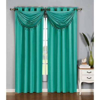 36 in. W x 37 in. L Jane Faux Silk Grommet Waterfall Window Valance in Turquoise