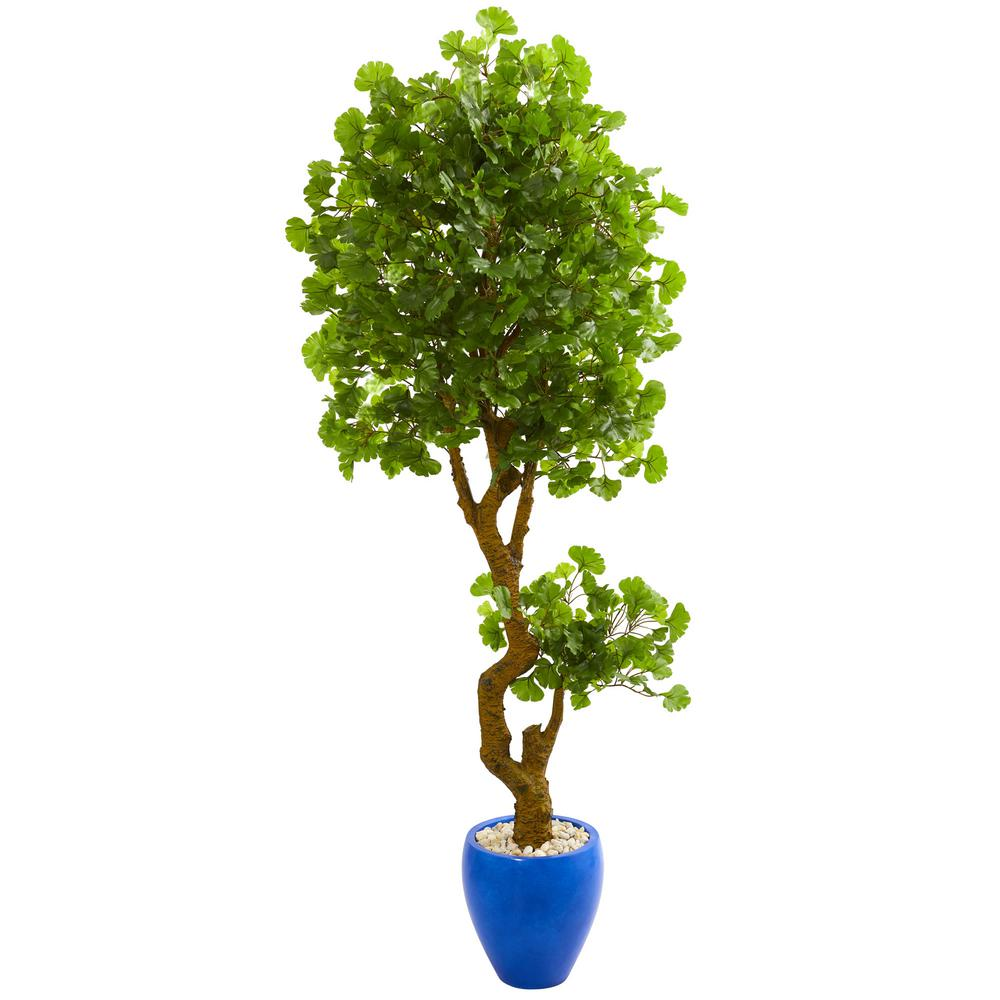 Nearly Natural Indoor Outdoor 6 Ft Jingo Artificial Tree In Blue Planter Uv Resistant 5681 The Home Depot