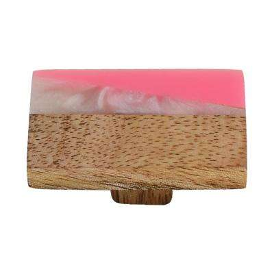 Frosted Timber 2 in. White and Pink Marble Cabinet Knob