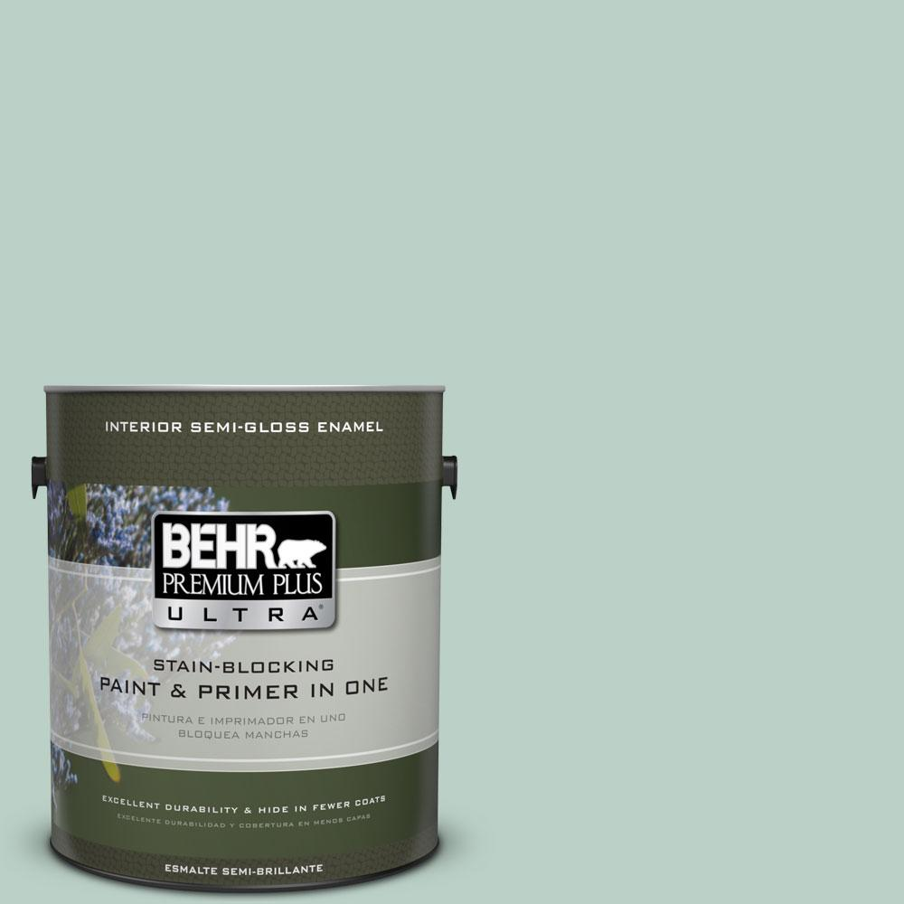 BEHR Premium Plus Ultra 1-gal. #S420-2 Moon Glass Semi-Gloss Enamel ...