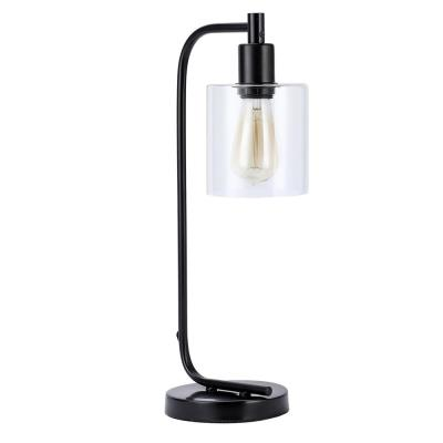 19 in. Black Industrial Desk Lamp with Clear Glass Shade