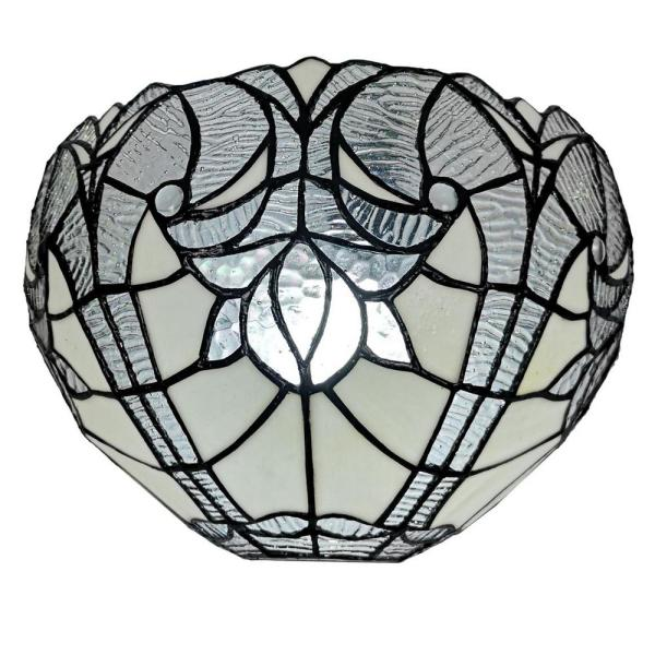 1-Light Tiffany Style White Jeweled Stained Glass Wall Sconce