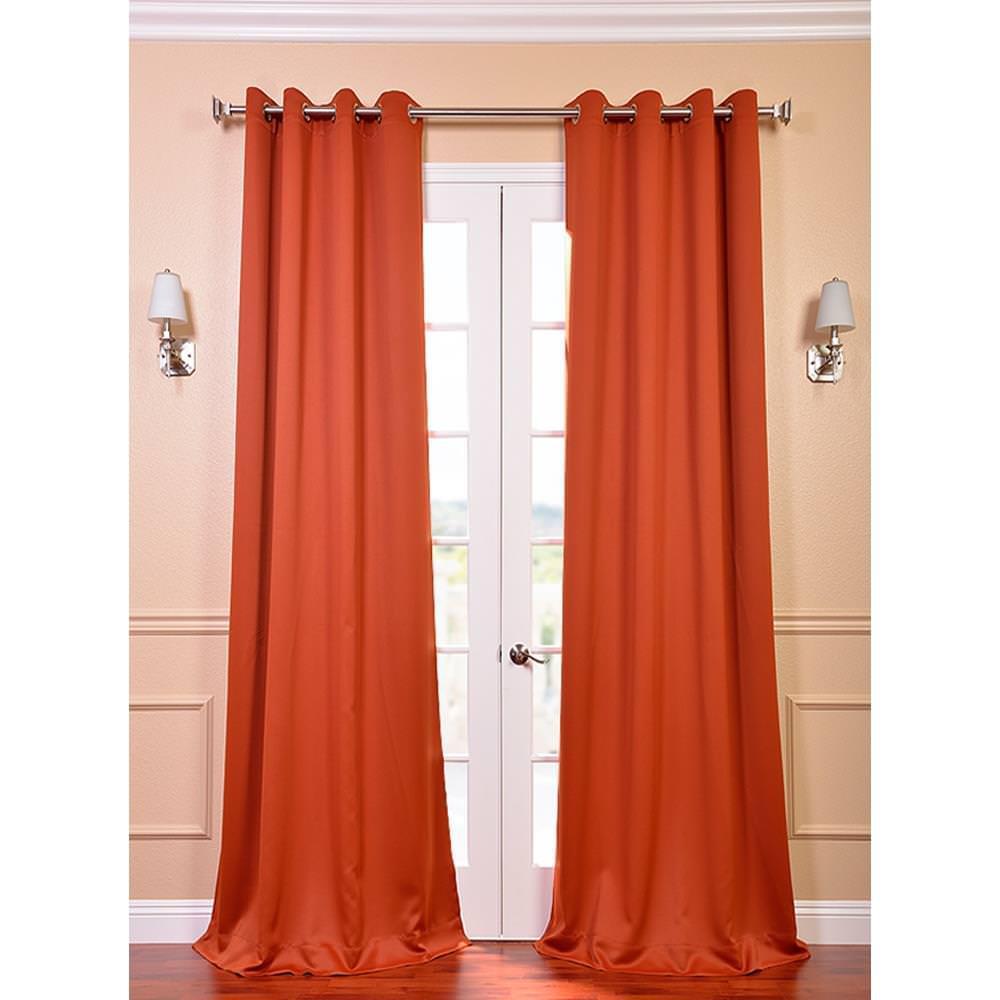 Semi-Opaque Blaze Orange Grommet Blackout Curtain - 50 in. W x 96 in. L (Panel)