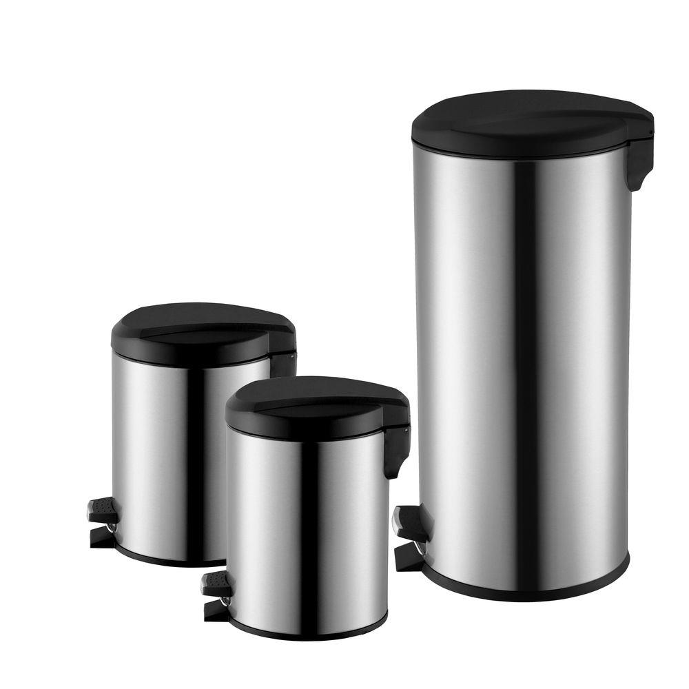 HDX HDX 1.3 Gal., 1.3 Gal. and 10 Gal. Stainless Steel Round Step-On Trash Can, Silver metallic