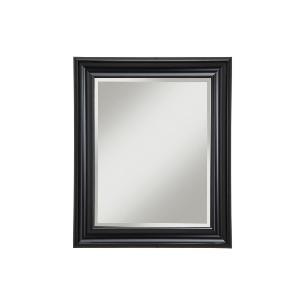 Medium Rectangle Black Beveled Glass Mirror (30 in. H x 36 in. W)