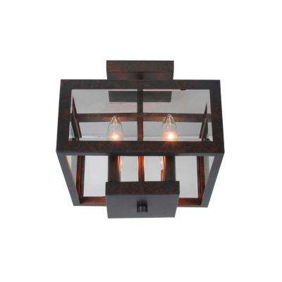 11 in. 4-Light Oxide Brass Semi-Flushmount with Tallarook Panel Glass Shade