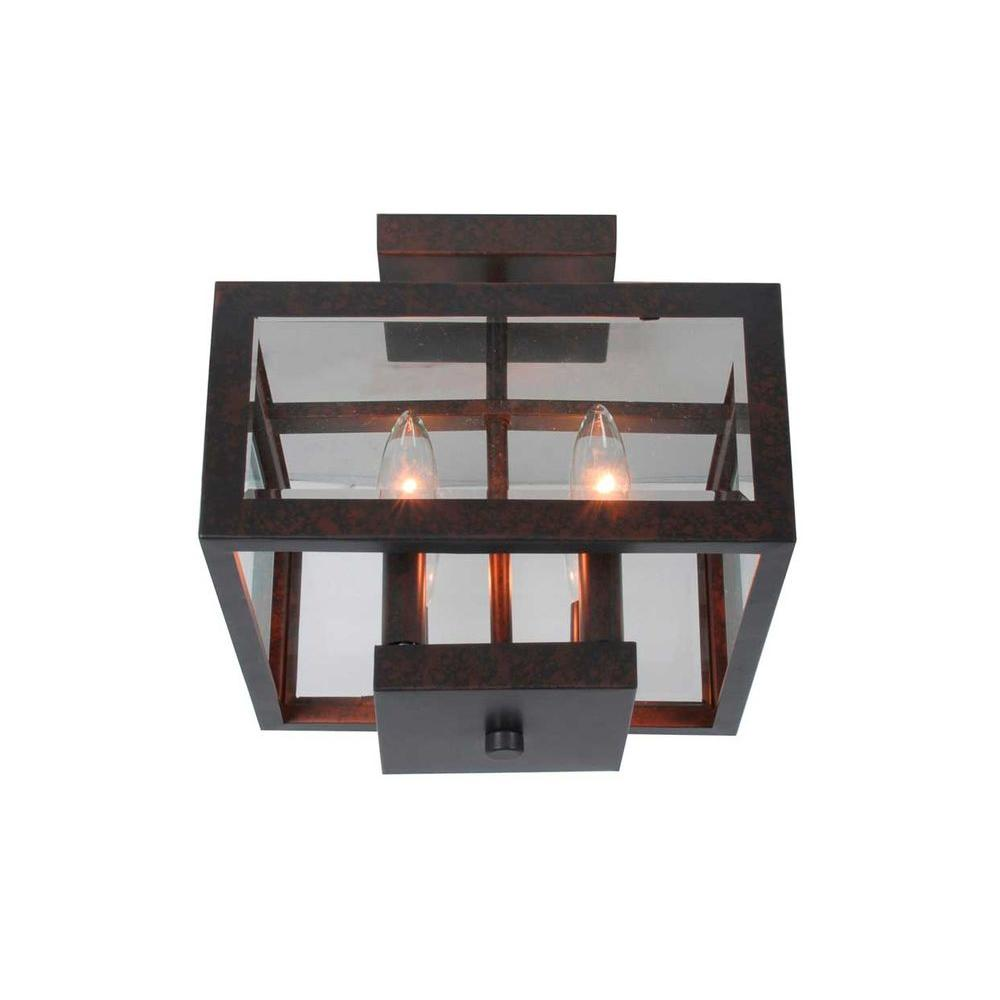 Hampton Bay 4-Light Oxide Brass Semi-Flushmount Light with Tallarook Panel Glass Shade
