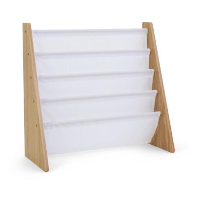Journey Collection Natural and White 4-Pocket Storage Book Rack