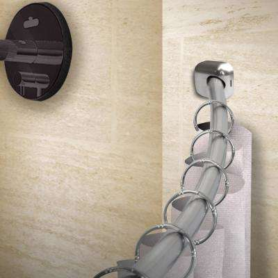 41-72 in. Curved Shower Curtain Rod with Rust Prevention in Satin Nickel