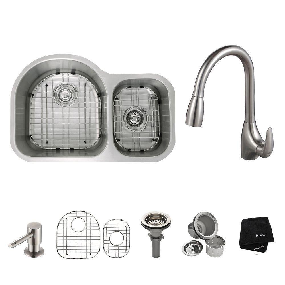 KRAUS All-in-One Undermount Stainless Steel 29 in. Double Bowl Kitchen Sink with Faucet and Accessories in Stainless Steel