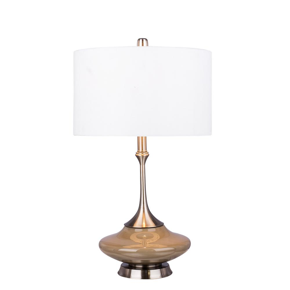 Fangio lighting retro 26 5 in grey glass and brushed for Home design zymeth aluminum table lamp