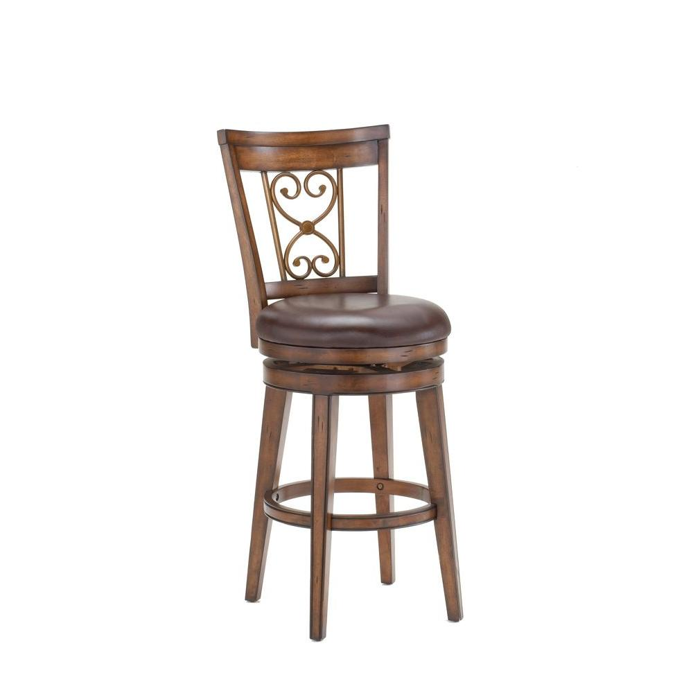 Hillsdale Furniture Villagio Swivel Counter Stool with Scroll Back-DISCONTINUED