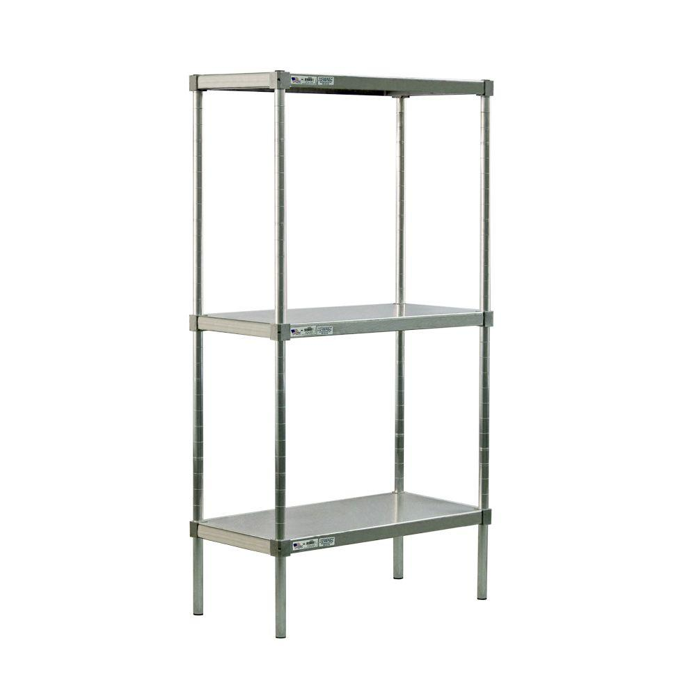 New Age Industrial 3-Shelf Aluminum Solid Top Style Adjustable Shelving