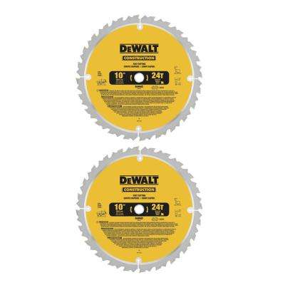 Construction 10 in. 24-Teeth Thin Kerf Table Saw Blade (2-Pack)