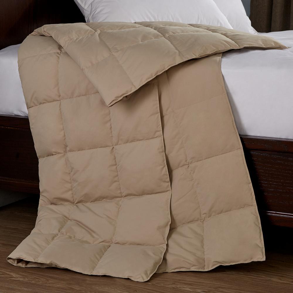 Packable Down 50 in. x 70 in. Khaki Throw Blanket