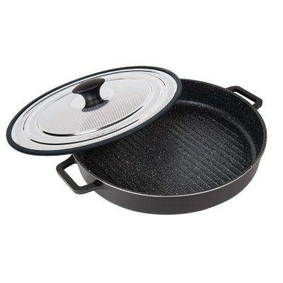 Stovetop Oven Grill Pan with Heat-in Steam-Out Lid, 12 in., Black