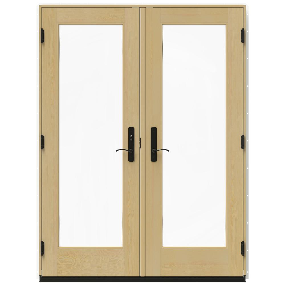 Jeld wen 60 in x 80 in w 4500 white clad wood right hand for Wood patio doors home depot