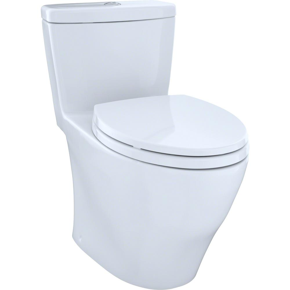 Toto Aquia 1 Piece Elongated 0 9 6 Gpf Dual Flush Skirted Toilet In Cotton White