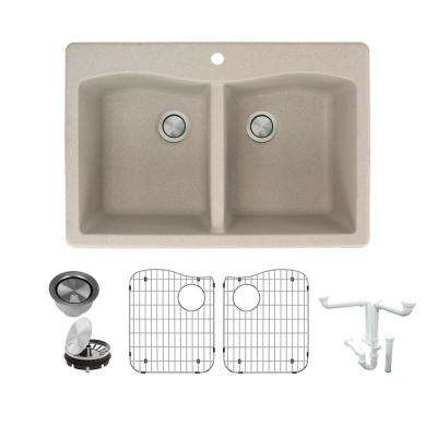 Aversa All-in-One Drop-in Granite 33 in. 1-Hole Equal Double Bowl Kitchen Sink in Cafe Latte