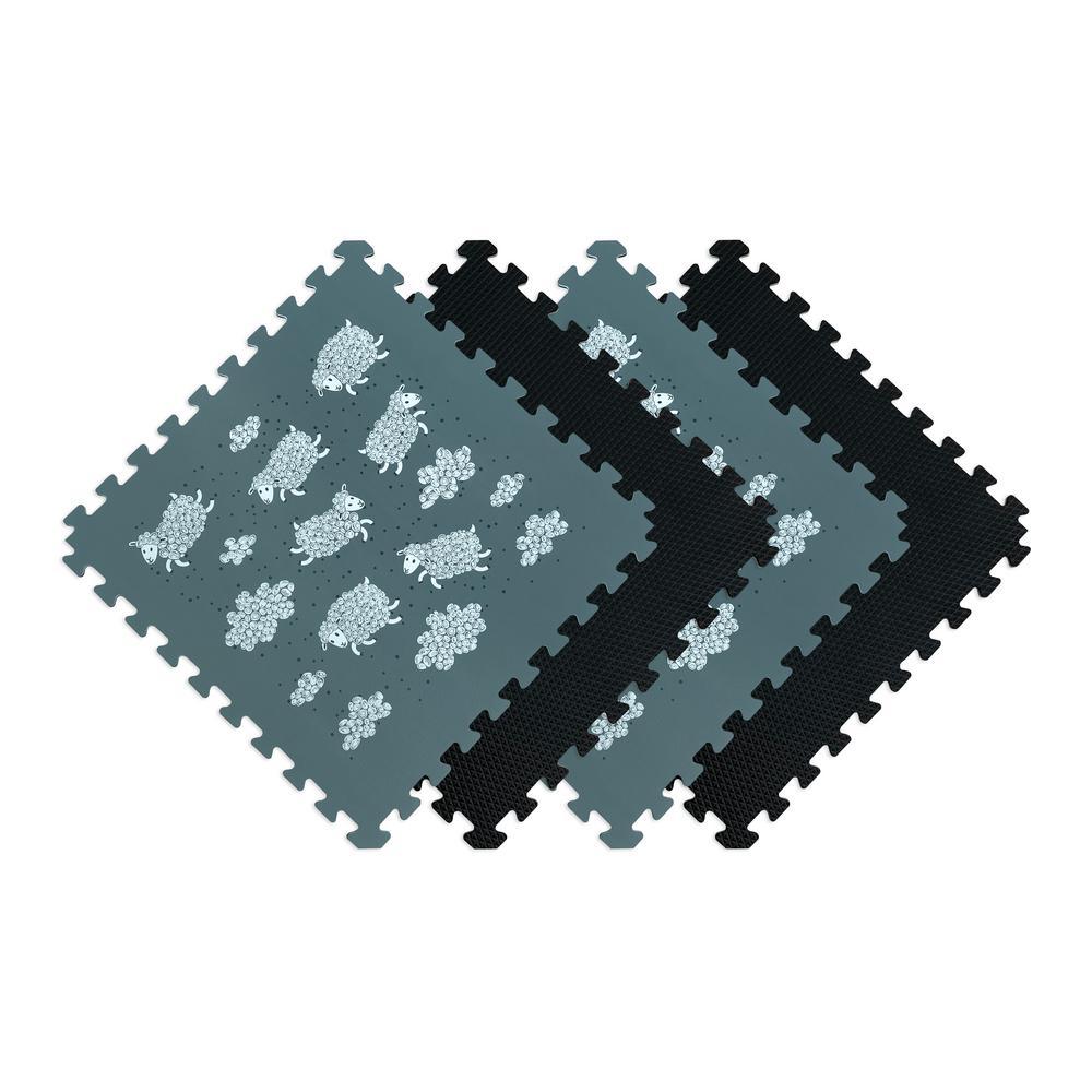 Reversible Sheep/Black Children's Designer 24 in. x 24 in. x 0.47 in. Foam Mats (4-Pack)